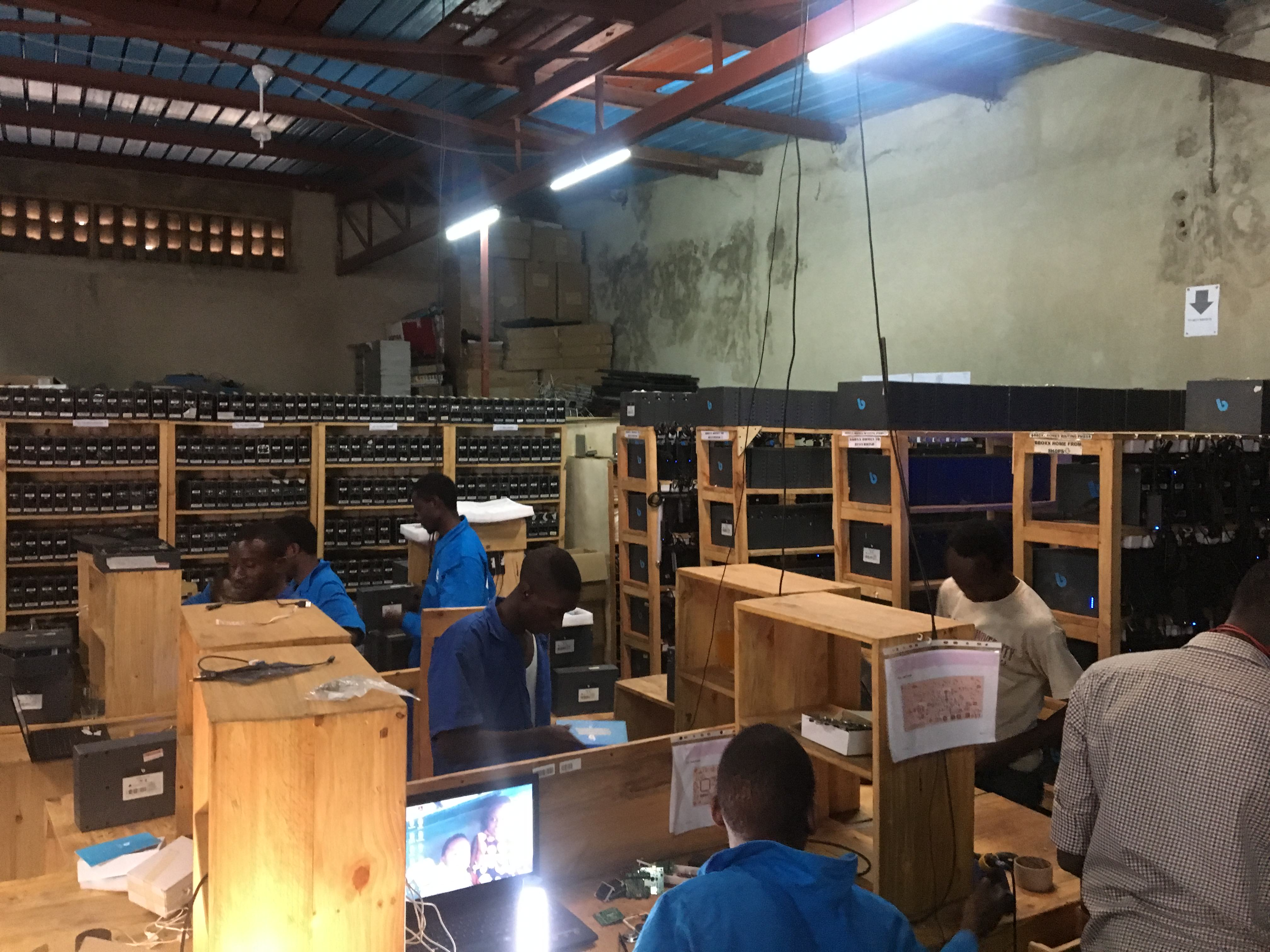 A factory where BBOXX makes solar home lighting systems