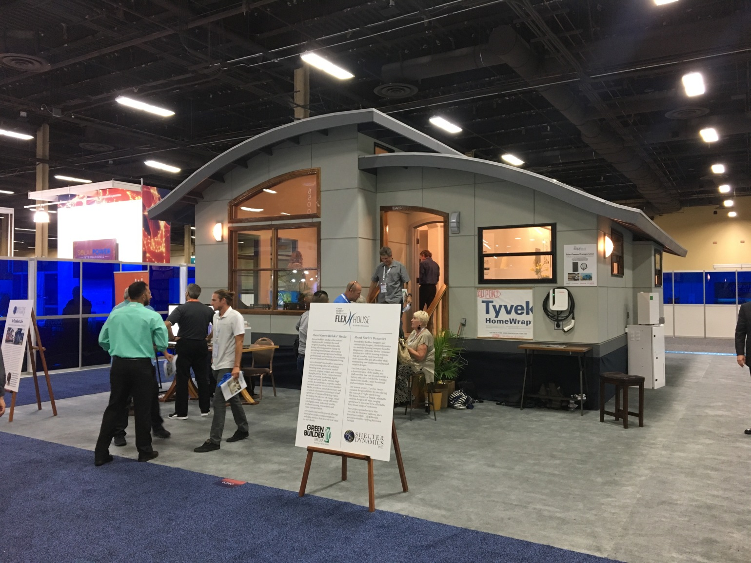 A pre-assembled solar powered home on the show floor